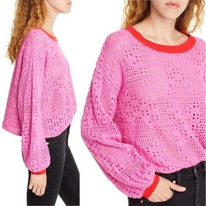 Free People Sweaters - Free People Home Run Open Cropped Sweater Pink M